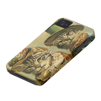 Vintage Humor, Victorian Bride Groom Cats in Hats iPhone 4 Case-Mate Cases