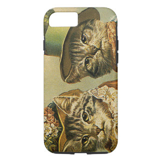 Vintage Humor, Victorian Bride Groom Cats in Hats iPhone 7 Case