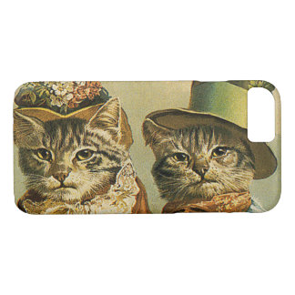 Vintage Humor, Victorian Bride Groom Cats in Hats iPhone 8/7 Case