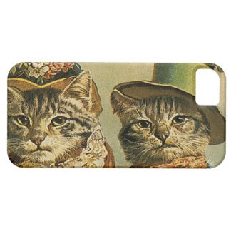 Vintage Humor, Victorian Bride Groom Cats in Hats iPhone SE/5/5s Case