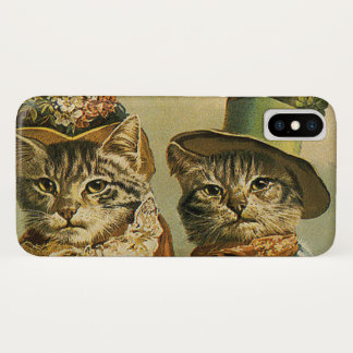 Vintage Humor, Victorian Bride Groom Cats in Hats iPhone X Case