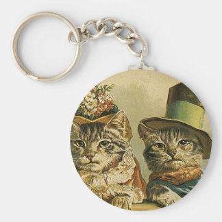 Vintage Humor, Victorian Bride Groom Cats in Hats Keychain