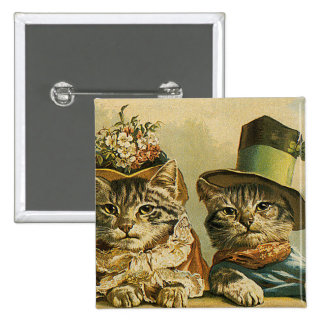 Vintage Humor, Victorian Bride Groom Cats in Hats Pinback Button