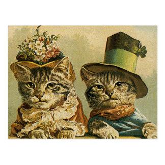 Vintage Humor, Victorian Bride Groom Cats in Hats Postcard