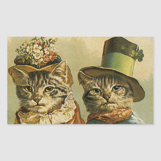 Vintage Humor, Victorian Bride Groom Cats in Hats Rectangular Sticker