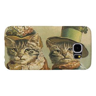 Vintage Humor, Victorian Bride Groom Cats in Hats Samsung Galaxy S6 Cases