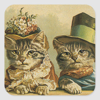 Vintage Humor, Victorian Bride Groom Cats in Hats Square Sticker