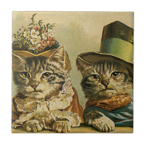 Vintage Humor, Victorian Bride Groom Cats in Hats Tile