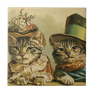 Vintage Humor, Victorian Bride Groom Cats in Hats Tile