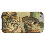 Vintage Humor, Victorian Bride Groom Cats in Hats Tough iPhone 6 Case