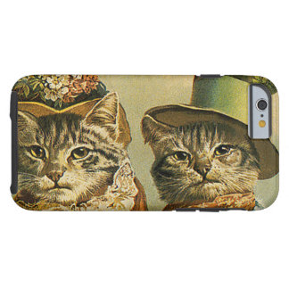 Vintage Humor, Victorian Bride Groom Cats in Hats Tough iPhone 6 Case