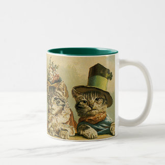 Vintage Humor, Victorian Bride Groom Cats in Hats Two-Tone Coffee Mug