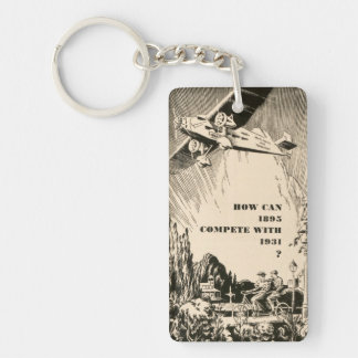 Vintage Humorous Ad Plane Tandem Bicycle Man Woman Keychain