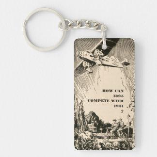 Vintage Humorous Ad Plane Tandem Bicycle Man Woman Single-Sided Rectangular Acrylic Keychain