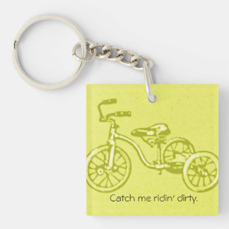 Vintage Humorous Kids Tricycle Bike Ridin' Dirty Keychain