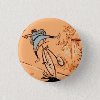 Vintage Humorous Man Bicycle Cat Blue Orange Pin