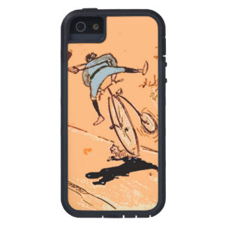 Vintage Humorous Man Bicycle Ride Fall Cat Orange Cover For iPhone 5