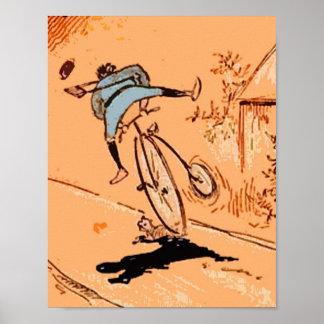 Vintage Humorous Man Bicycle Ride Fall Cat Orange Poster