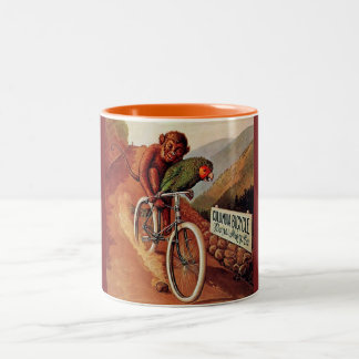 Vintage Humorous Monkey Parrot Bicycle Mug