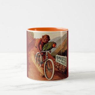 Vintage Humorous Monkey Parrot Bicycle Mug