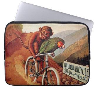 Vintage Humorous Monkey Parrot Bicycle Ride Laptop Sleeve