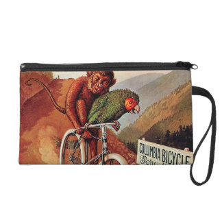 Vintage Humorous Monkey Parrot Bicycle Ride Wristlet Purse