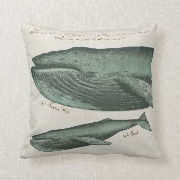 Beach Themed Vintage Humpback whale and calf Throw Pillow