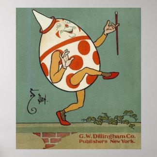 Vintage Humpty Dumpty en el baile de la pared Impresiones