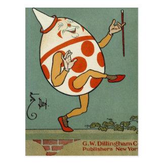 Vintage Humpty Dumpty en el baile de la pared Tarjeta Postal