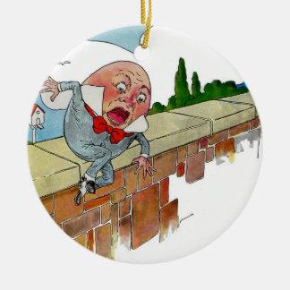 Vintage Humpty Dumpty Nursery Rhyme Illustration Double-Sided Ceramic Round Christmas Ornament