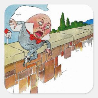 Vintage Humpty Dumpty Nursery Rhyme Illustration Square Sticker