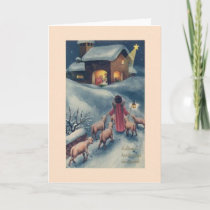 Vintage Hungarian Angel Nativity Christmas Card