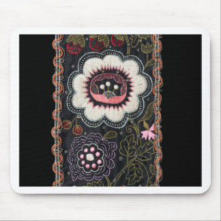 Vintage Hungarian Embroidery on Black Mouse Pad