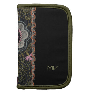 Vintage Hungarian Embroidery on Black Organizers