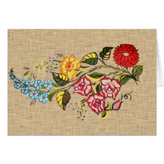 Vintage  Hungarian Flowers  -  faux fabric