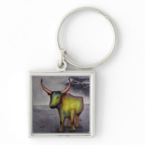 Vintage Hungarian Grey Cattle RocketPaprika Art Keychain