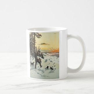 Vintage Hunter Dog Gun Snow Artwork Coffee Mug