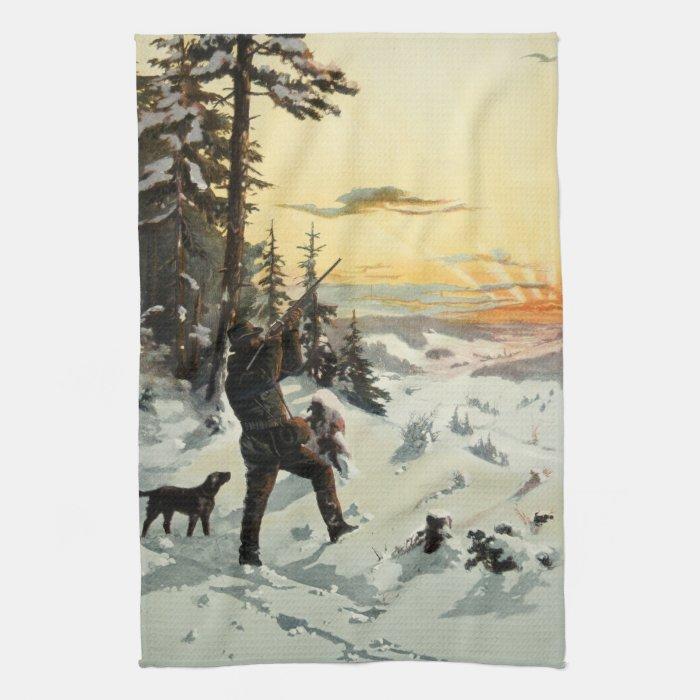 Vintage Hunter Dog Gun Snow Artwork Kitchen Towel