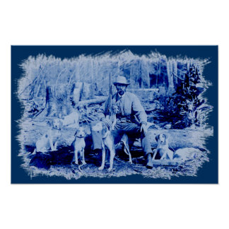 Vintage Hunter With Dogs Painted Poster
