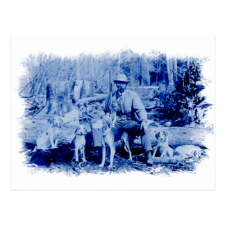 Vintage Hunter With Dogs Postcard