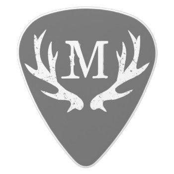 Vintage Hunting Deer Antler Monogram Guitar Picks by logotees at Zazzle