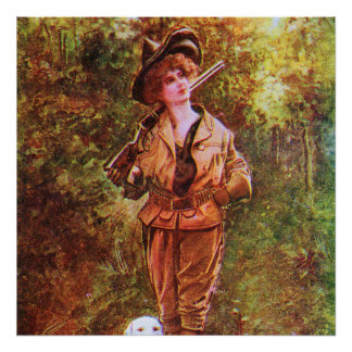 Vintage Hunting in Style with Dog Poster
