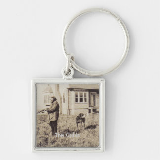 Vintage Hunting Photo Keycahin Silver-Colored Square Keychain