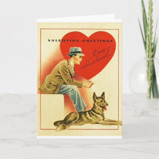 vintage husband and dog valentines day card - Dog Valentines Day Cards