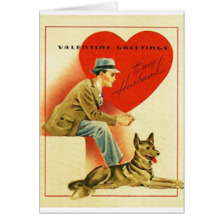 Vintage Husband And Dog Valentine's Day Card