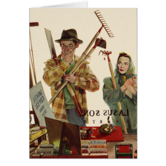 Vintage Husband and Wife Gardening Project Greeting Card