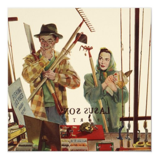 """Vintage Husband and Wife Gardening Project 5.25"""" Square Invitation Card"""