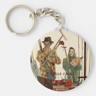 Vintage Husband and Wife Gardening Project Keychains