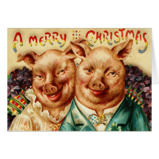 Vintage Husband And Wife Pig Couple Merry Christma Greeting Card