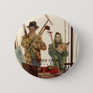 Vintage Husband and Wife with Gardening Tools Button